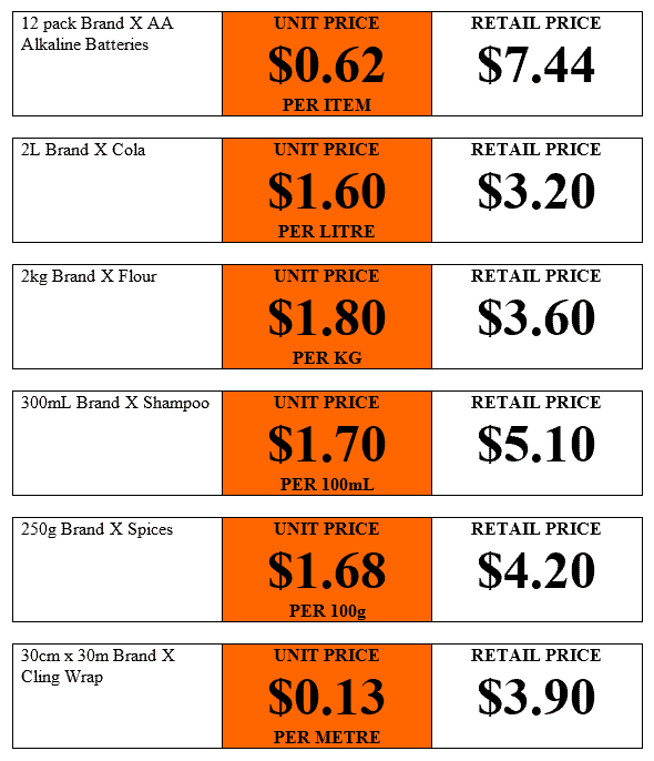 Examples of unit price stickers